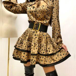 Заказать женское тигровое принтованное платье с рюшами из шелка онлайн