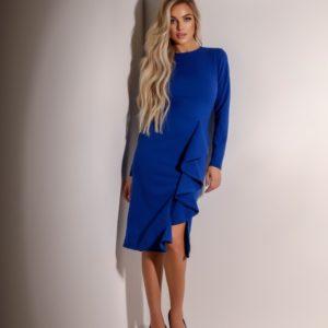 Заказать женское платье синего цвета с длинным рукавом с рюшей (размер 42-48) по скидке