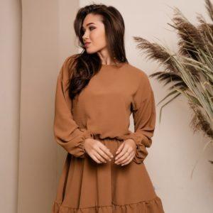 Купить женское свободное платье с рюшами и поясом цвета кирпич в интернете