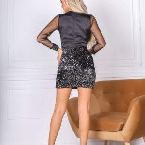 Приобрести по скидке платье мини с пайетками и прозрачными рукавами (размер 42-48) для женщин черного цвета
