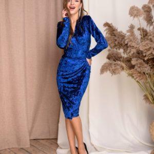 Купить синего цвета женское бархатное платье на запах (размер 42-48) онлайн