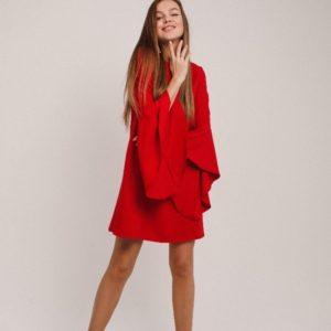 Заказать красное платье свободного кроя с широкими рукавами-колокольчиками (размер 42-48) для женщин онлайн