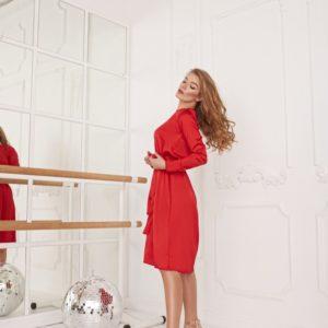 Приобрести онлайн женское шелковое платье с длинным рукавом и поясом (размер 42-48) красного цвета