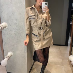 Приобрести бежевое женское платье мини в стиле милитари в интернете