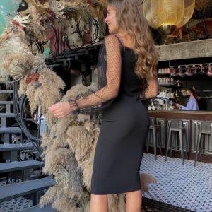 Заказать по скидке женское вечернее платье миди с сеткой в мелкий горох черного цвета