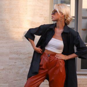 Заказать недорого черное объёмное платье-рубашка из хлопка с рукавом 3/4 (размер 42-48) для женщин