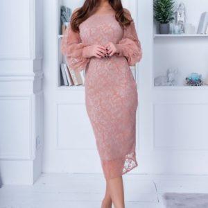Купить вечернее женское платье миди цвета пудра с открытыми плечами (размер 42-54) недорого
