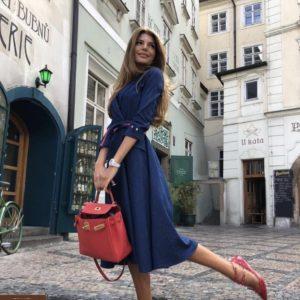Купить онлайн синее джинсовое платье с юбкой солнце с поясом (размер 42-56) для женщин