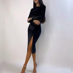 Купить выгодно бархатное платье для женщин миди с разрезом черного цвета