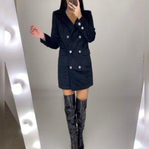 Заказать черное платье-пиджак мини из бархата для женщин выгодно