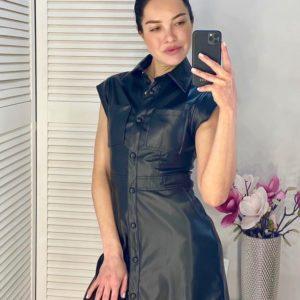 Приобрести черное приталенное платье-рубашка для женщин из эко кожи выгодно