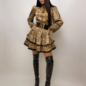 Купить по скидке женское принтованное платье с рюшами из шелка тигровое
