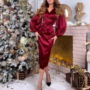 Заказать бордовое атласное платье на запах с пышными рукавами выгодно для женщин