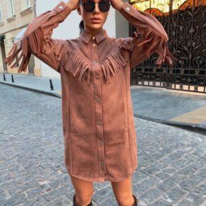 Купить женское замшевое платье с бахромой в стиле милитари онлайн цвета мокко