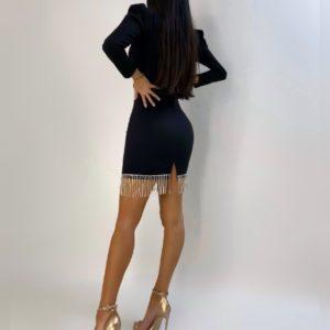Приобрести дешево женское платье мини с бахромой и длинными рукавами-фонариками черного цвета