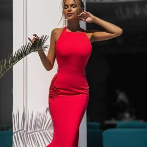 Приобрести красное женское силуэтное платье миди с открытой спиной (размер 42-48) выгодно