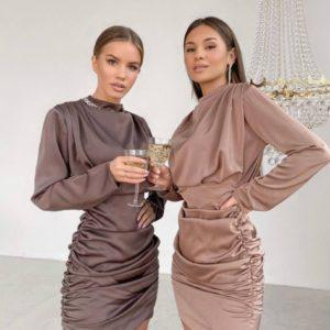 Купить по низким ценам женское элегантное шелковое платье мини цвета капучино, шоколад