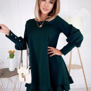 Заказать изумрудное платье женское свободного кроя с длинным рукавом (размер 42-48) онлайн