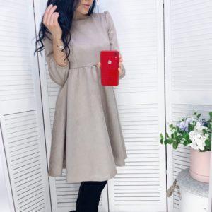 Заказать женское замшевое бежевое платье с завышенной линией талии (размер 42-48) недорого