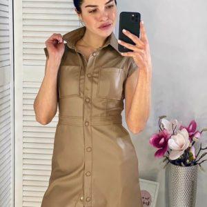Заказать мокко женское приталенное платье-рубашка из эко кожи в интернете