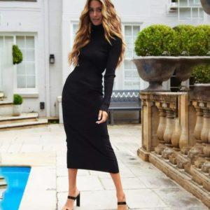 Купить черное женское платье-гольф макси из плотного трикотажа в интернете
