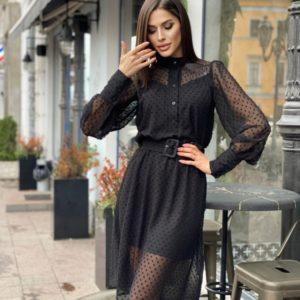 Заказать по низким ценам женское закрытое платье из шифона в точку черного цвета