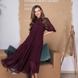 Купить по низким ценам платье оверсайз бордо длины миди из шифона в горошек (размер 42-56) для женщин