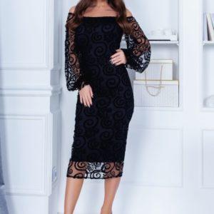 Купить онлайн черное женское вечернее платье миди с открытыми плечами (размер 42-54)