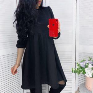 Приобрести черное женское замшевое платье с завышенной линией талии (размер 42-48) по низким ценам