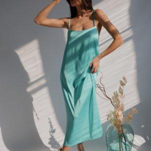 Заказать мятное женское платье на бретельках из шелка армани (размер 42-48) в интернете