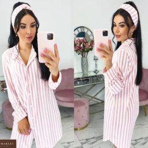 Заказать домашнюю розовую сорочку в полоску недорого с повязкой (размер 42-48) для женщин