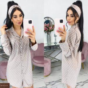 Заказать онлайн беж домашнюю сорочку с повязкой для женщин в горошек (размер 42-48)