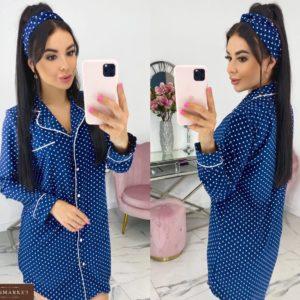 Приобрести дешево женскую домашнюю сорочку с повязкой в горошек (размер 42-48) синего цвета
