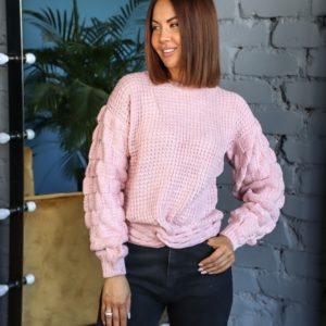 Приобрести цвета пудра свитер с объемными рукавами и имитацией завязки для женщин онлайн