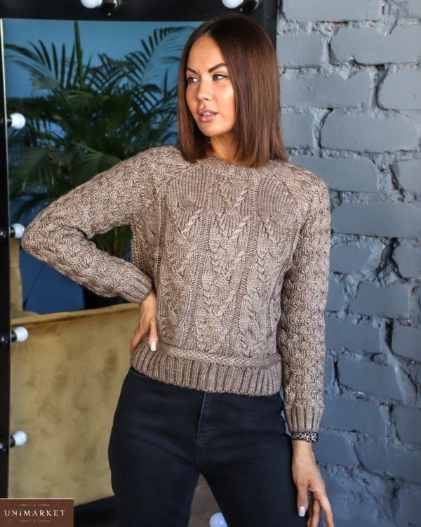 Приобрести цвета мокко короткий вязаный свитер с люрексовой нитью (размер 42-48) для женщин в Украине