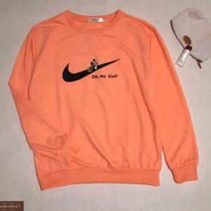 Купить оранж женский свитшот с эмблемой Nike и Микки Маусом по скидке
