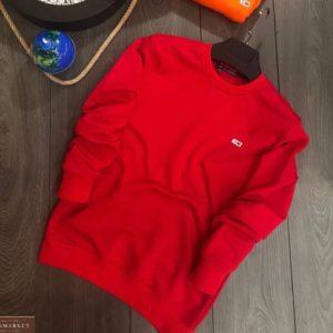 Заказать мужской красный базовый свитшот с эмблемой в интернете