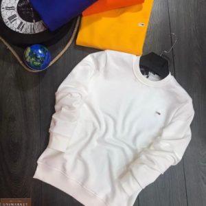 Заказать белого цвета мужской базовый свитшот с эмблемой в интернете