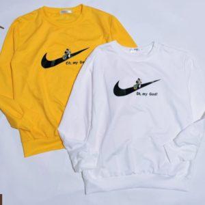 Купить желтого, белого цветов свитшот с эмблемой Nike для женщин и Микки Маусом выгодно