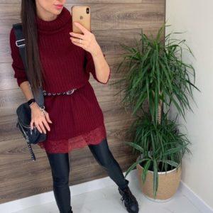 Приобрести онлайн бордо женскую вязаную тунику-свитер с кружевом