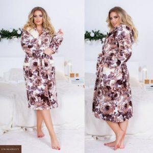 Купить розовый халат для женщин в цветочный принт с капюшоном и карманами (размер 42-54) недорого