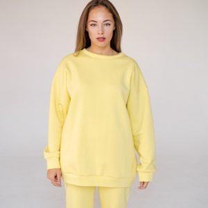 Заказать желтого цвета свитшот oversize без капюшона для женщин на флисе (размер 42-48) выгодно
