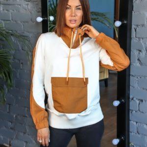 Заказать дешево женское худи с цветными вставками и карманом (размер 42-50) белого цвета