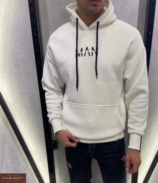 Приобрести в интернете для мужчин худи на флисе «Man» белого цвета
