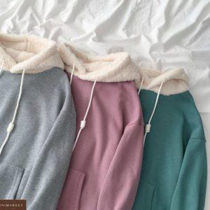 Купить теплое худи онлайн с капюшоном для женщин из двухсторонней махры цвета фреза, изумруд, меланж