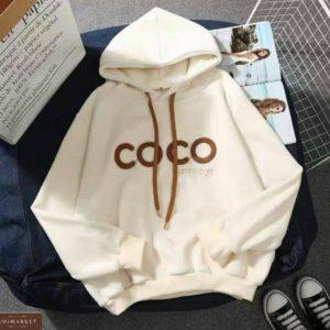 Заказать бежевое худи для женщин на флисе с надписью Coco онлайн