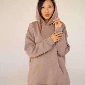 Купить недорого женское худи oversize с двойным капюшоном (размер 42-48) цвета беж