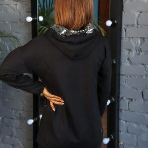 Приобрести в интернете женское худи с капюшоном и пайетками (размер 42-50) черного цвета