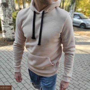 Купить бежевого цвета для мужчин однотонное худи с капюшоном в Украине