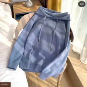 Купить онлайн голубого цвета однотонное худи с рукавом реглан для женщин